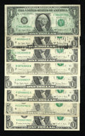 Error Notes:Error Group Lots, Mixed Lot of Modern $1 FRNs with Minor Errors. Fine or Better.. ...(Total: 8 notes)