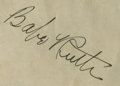 Autographs:Others, 1947 Babe Ruth Signed Reader's Digest Radio Sheet. ...