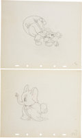 Animation Art:Production Drawing, Mickey's Elephant Animation Production Drawing Original Art Group (Disney, 1936).... (Total: 2 Items)