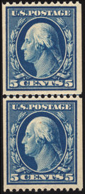 Stamps, 5c Blue, Coil Guide Line Pair (351),...