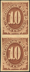 Stamps, 10¢ Brown, Imperforate (J5a),...