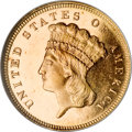Three Dollar Gold Pieces, 1879 $3 MS65 ★ Prooflike NGC....