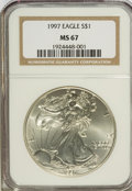 Modern Bullion Coins: , 1997 $1 Silver Eagle MS67 NGC. NGC Census: (16/19043). PCGSPopulation (192/4482). Mintage: 4,295,004. Numismedia Wsl. Pric...