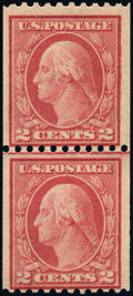 Stamps, 2¢ Red, Type I, Vertical Coil (449),...