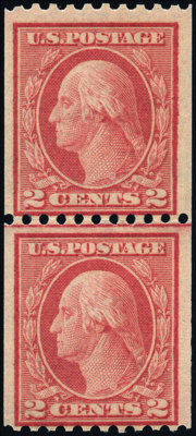 2¢ Red, Type I, Vertical Coil (449)