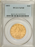 Liberty Eagles: , 1853 $10 XF40 PCGS. PCGS Population (24/226). NGC Census: (18/533).Mintage: 201,253. Numismedia Wsl. Price for NGC/PCGS co...