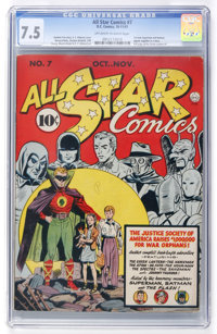 All Star Comics #7 (DC, 1941) CGC VF- 7.5 Off-white to white pages