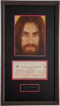 Music Memorabilia:Autographs and Signed Items, Beatles Related - George Harrison Signed Check....