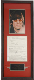 "Music Memorabilia:Autographs and Signed Items, Beatles Related - John Lennon Signed ""Glass Onion"" Agreement...."