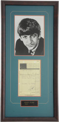 Music Memorabilia:Autographs and Signed Items, Beatles Related - Ringo Starr Signed Receipt....