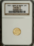 Commemorative Gold: , 1905 G$1 Lewis and Clark MS62 NGC. The straw-gold surfaces of thissolidly struck commemorative are vibrant and undimmed by...