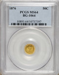 California Fractional Gold: , 1876 50C Indian Round 50 Cents, BG-1064, R.6, MS64 PCGS. The firstexample of this issue offered by Heritage since the Janu...