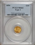 Gold Dollars: , 1854 G$1 Type One MS64 PCGS. A meticulously struck representativeof this final Type One gold dollar issue. Strongly lustro...