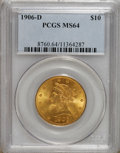 Liberty Eagles: , 1906-D $10 MS64 PCGS. This sharply struck inaugural Denver Mint tenpossesses vibrant luster, and neither side shows any si...