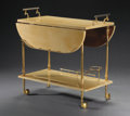 Furniture : Continental, ALDO TURA . A Lacquered Goat Skin and Gilt Metal Bar Cart, circa1950. Paper label: TURA, milano, italia. 29-1/2 x 31-1/...