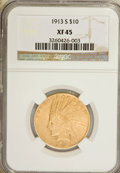 Indian Eagles: , 1913-S $10 XF45 NGC. NGC Census: (67/586). PCGS Population(46/404). Mintage: 66,000. Numismedia Wsl. Price for NGC/PCGS co...