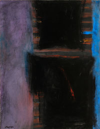 FERNANDO DE SZYSZLO (Peruvian, b. 1925) Casa Blue/Black, 1966 Acrylic on board 25-1/2 x 20 in