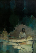 Paintings, FRANK EARLE SCHOONOVER (American, 1877-1972). Indian with Squaw in Canoe, 1927. Oil on canvas. 38 x 26 inches (96.5 x 66...