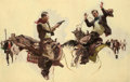 Western:20th Century, DEAN CORNWELL (American, 1892-1960). The Stick-up, 1924. Oilon canvas . 28-1/2 x 44-1/4 inches (72.4 x 112.4 cm). Initi...