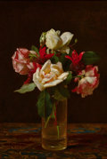 American:Still Life, The Hon. Paul H. Buchanan, Jr. Collection. GEORGE COCHRAN LAMBDIN(American, 1830-1896). Still Life with Roses and Fuchs...