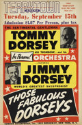 Music Memorabilia:Posters, Tommy Dorsey/Jimmy Dorsey Terrytown Area Concert Poster (1953)....