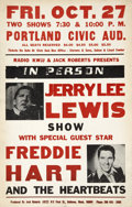 Music Memorabilia:Posters, Jerry Lee Lewis/Freddy Hart Portland Civic Auditorium ConcertPoster (Jack Roberts, 1972)....