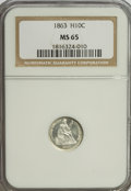 Seated Half Dimes, 1863 H10C MS65 NGC....