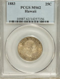 Coins of Hawaii: , 1883 25C Hawaii Quarter MS62 PCGS. PCGS Population (159/805). NGCCensus: (90/500). Mintage: 500,000. (#10987)...