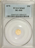 California Fractional Gold: , 1870 25C Liberty Round 25 Cents, BG-808, R.3, MS65 PCGS. PCGSPopulation (46/11). NGC Census: (8/7). (#10669)...