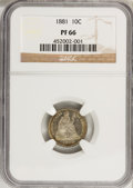 Proof Seated Dimes, 1881 10C PR66 NGC....