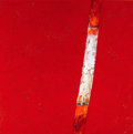 Latin American:Contemporary, KAZUO WAKABAYASHI . (Japanese/Brazilian, b. 1931). White LineRed, 1967. Mixed media on canvas laid on board. 32 x 32 in...