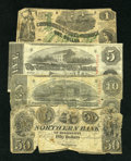 Confederate Notes:Group Lots, Mixed Lot of Three Confederate Notes and a Mississippi Obsolete..... (Total: 4 notes)