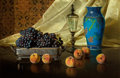 American:Still Life, The Hon. Paul H. Buchanan, Jr. Collection. EDWARD CHALMERS LEAVITT(American, 1842-1904). Still Life with Peaches and Gr...
