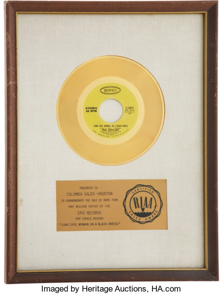 The Hollies Long Cool Woman In A Black Dress Riaa Gold Lot