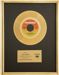 "Music Memorabilia:Awards, Paul Simon ""50 Ways to Leave Your Lover"" In-House Gold SingleAward...."