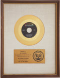 "Music Memorabilia:Awards, Three Dog Night ""Joy to the World"" RIAA Gold Single Award...."