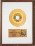 "Music Memorabilia:Awards, Bill Withers ""Lean On Me"" RIAA Gold Single Award...."