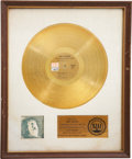 Music Memorabilia:Awards, Joe Cocker With a Little Help From My Friends RIAA GoldAlbum Award....