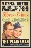 "Movie Posters:Western, The Plainsman (Paramount, 1936). Window Card (14"" X 22""). Western.. ..."