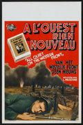 "Movie Posters:War, All Quiet on the Western Front (Universal, R-1940s). Belgian (14"" X 22""). War.. ..."