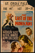 """Movie Posters:Adventure, The Last of the Mohicans (United Artists, 1936). Window Card (14"""" X21.5""""). Adventure.. ..."""