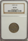 Buffalo Nickels: , 1925-S 5C AU50 NGC. NGC Census: (12/485). PCGS Population (13/627). Mintage: 6,256,000. Numismedia Wsl. Price for NGC/PCGS ...