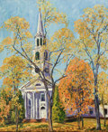 Fine Art - Painting, American:Modern  (1900 1949)  , HARRY MARTIN BOOK (American, 1904-1972). Old Lyme Church, LymeConnecticut, 1933. Oil on canvas. 34 x 28 inches (86....