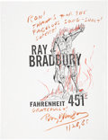 Movie/TV Memorabilia:Autographs and Signed Items, Ray Bradbury Signed Flyer....