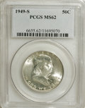 Franklin Half Dollars: , 1949-S 50C MS62 PCGS. PCGS Population (37/2711). NGC Census:(32/1579). Mintage: 3,744,000. Numismedia Wsl. Price for NGC/P...
