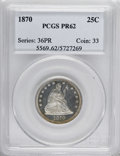 Proof Seated Quarters: , 1870 25C PR62 PCGS. PCGS Population (36/73). NGC Census: (9/87).Mintage: 1,000. Numismedia Wsl. Price for NGC/PCGS coin in...