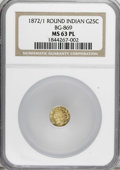 California Fractional Gold: , 1872/1 25C BG-869 MS63 Prooflike NGC. NGC Census: (4/8).(#710730)...