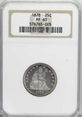 Proof Seated Quarters: , 1878 25C PR63 NGC. NGC Census: (39/79). PCGS Population (50/59).Mintage: 800. Numismedia Wsl. Price for NGC/PCGS coin in P...