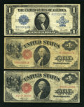 Large Size:Group Lots, Fr. 36 $1 Legal Tender Note. VG-Fine.. Fr. 37 $1 Legal Tender Note. VG-Fine.. Fr. 238 $1 Silver Certificate. Fine.... (Total: 3 notes)