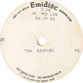 "Music Memorabilia:Recordings, Beatles ""In My Life"" Acetate (Emidisc, 1965) Brian Epstein'sPersonal Copy...."